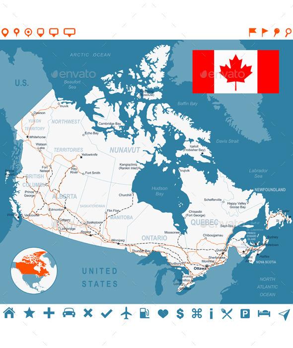 Canada Map, Flag, Navigation Labels, Roads.  - Travel Conceptual