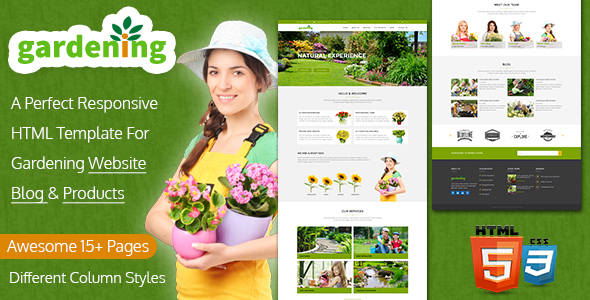 Gardening Website, Blog & Product HTML Template