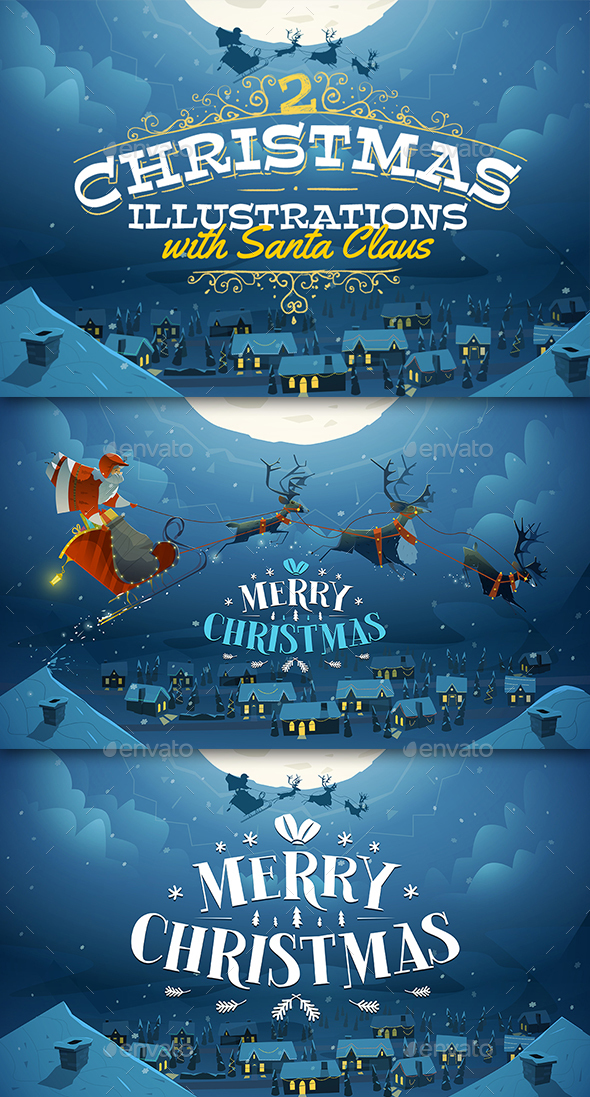 2 Christmas Illustrations with Santa - Christmas Seasons/Holidays