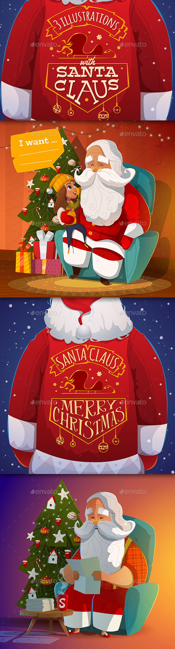 3 Santa Claus Illustrations - Christmas Seasons/Holidays