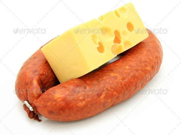 Fresh sausage with cheese - Stock Photo - Images