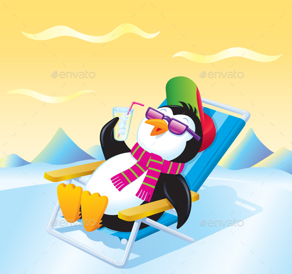 Penguin Relaxing with an Iced Drink - Animals Characters