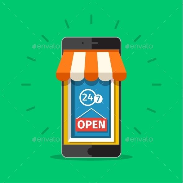 Vector E-commerce Concept - Retail Commercial / Shopping