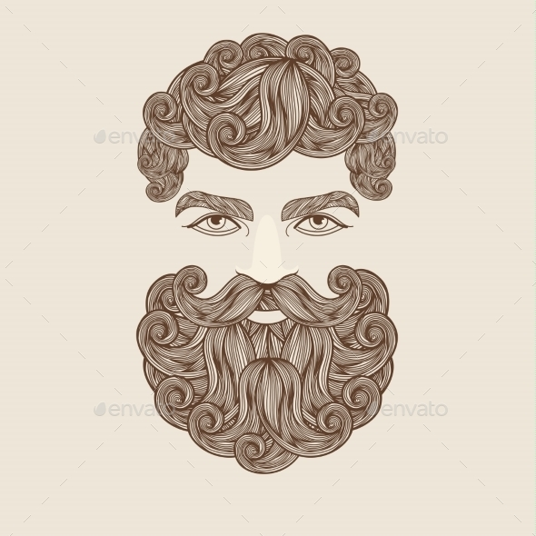 Mustache Beard And Hair Style. - People Characters