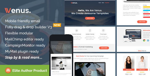 Venus, Multipurpose Email Theme + Builder Access