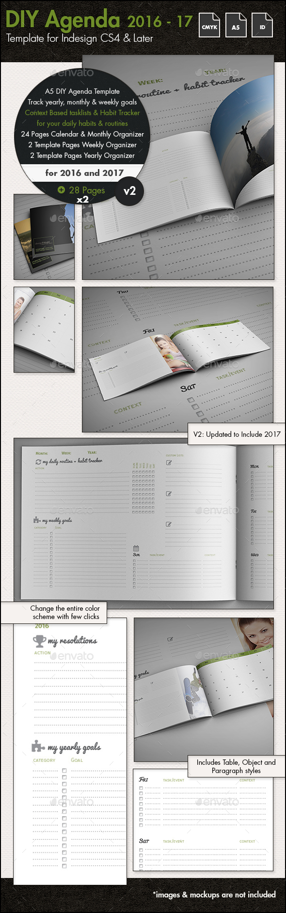 DIY Planner - Calendar Template for 2016 and 2017 - A5 by sthalassinos