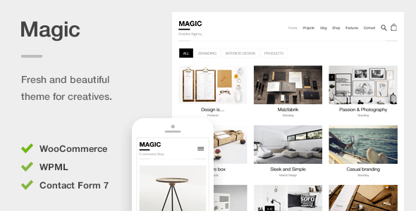 Download Magic – A Creative Portfolio & Ecommerce WordPress Theme nulled preview