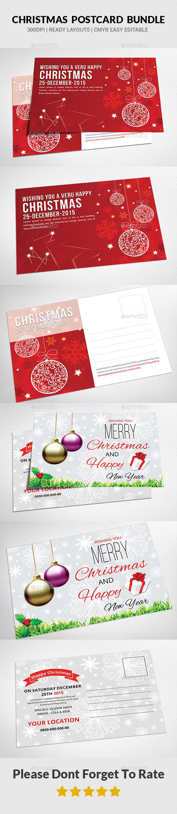 Christmas Postcard Bundle - Cards & Invites Print Templates