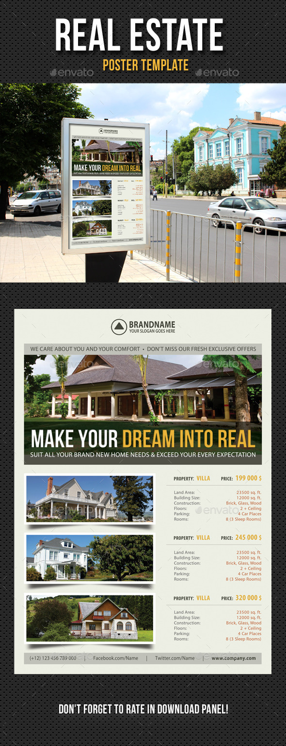 Real Estate Agency Poster Template 04 - Signage Print Templates
