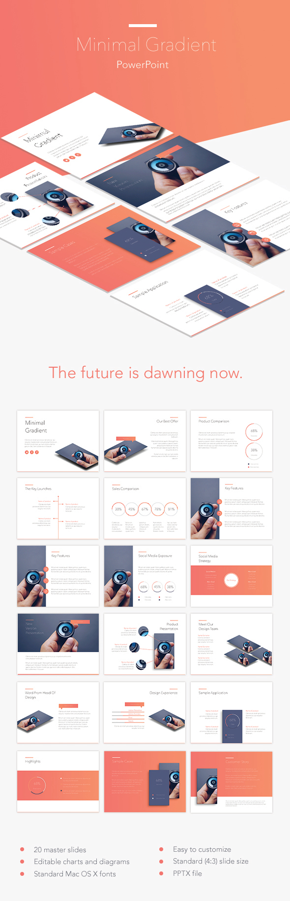 Minimal Gradient PowerPoint Template - Abstract PowerPoint Templates