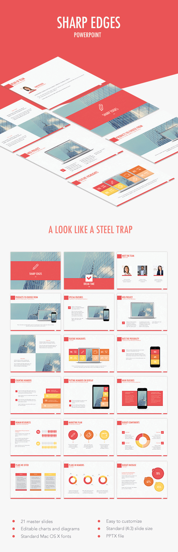 Sharp Edges PowerPoint Template - PowerPoint Templates Presentation Templates