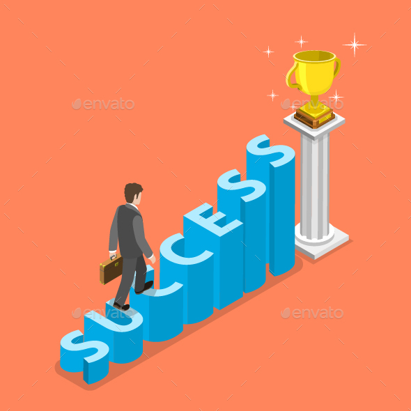 Stairs To Success Isometric Vector Concept.  - Concepts Business