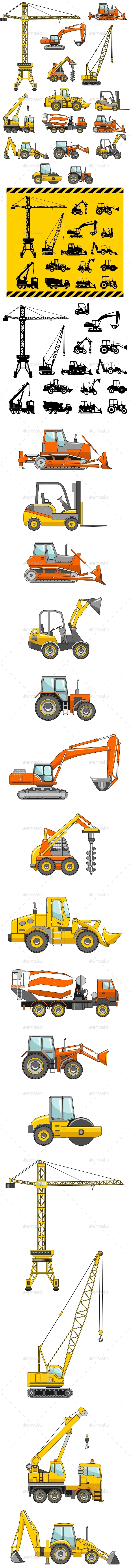Set Of Heavy Construction Machines Icons - Man-made Objects Objects