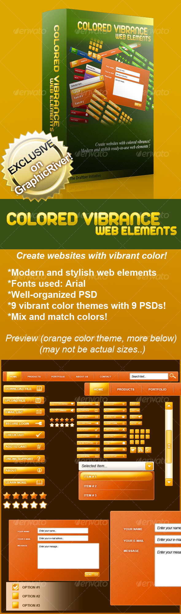 Colored Vibrance Web Elements - Web Elements