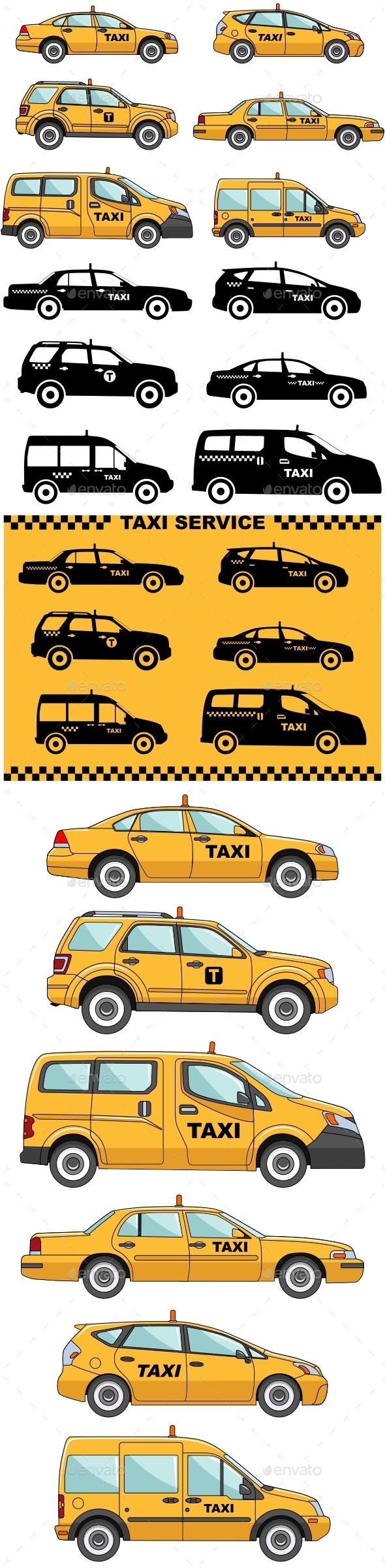 Taxi Cars On A White And Yellow Background - Man-made Objects Objects