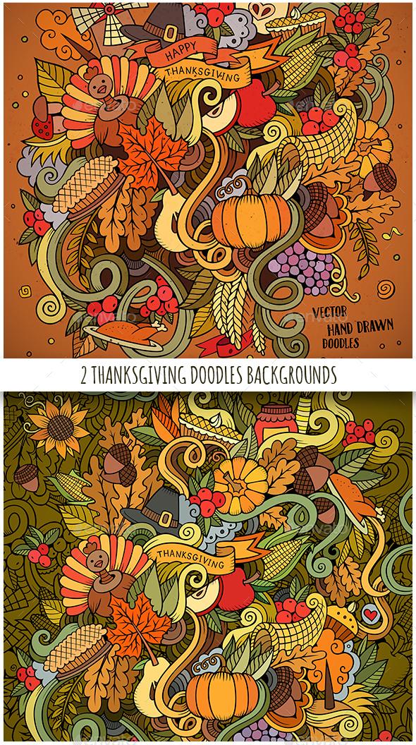 Happy Thanksgiving Doodles Designs - Seasons/Holidays Conceptual