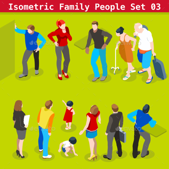 Family Set 03 People Isometric - People Characters