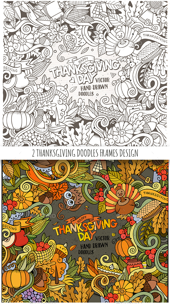 2 Happy Thanksgiving Doodles Frames - Miscellaneous Seasons/Holidays