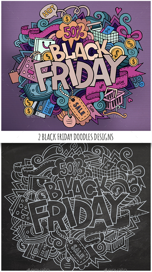 2 Black Friday Doodles Design - Commercial / Shopping Conceptual