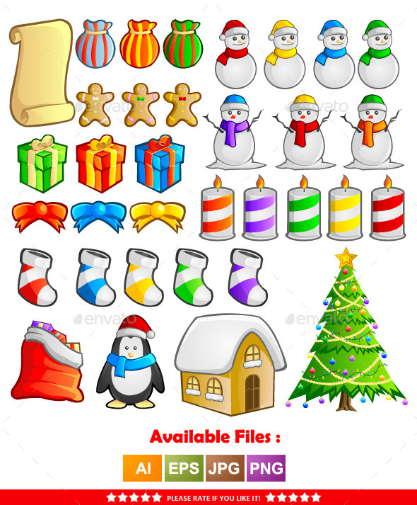 Christmas Items Vector - Christmas Seasons/Holidays