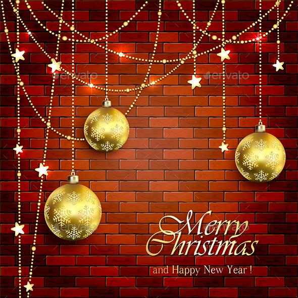 Christmas Balls on a Brick Wall - Christmas Seasons/Holidays