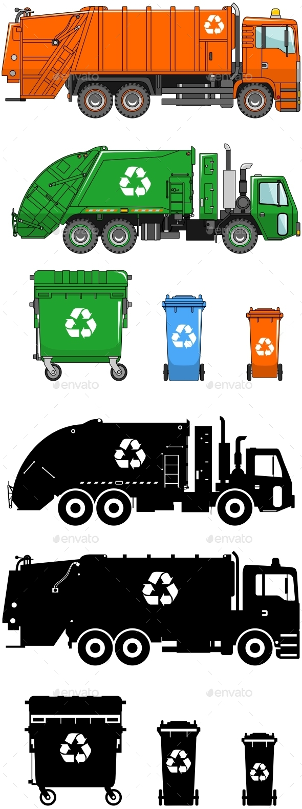 Garbage Trucks And Different Types Of Dumpsters - Man-made Objects Objects