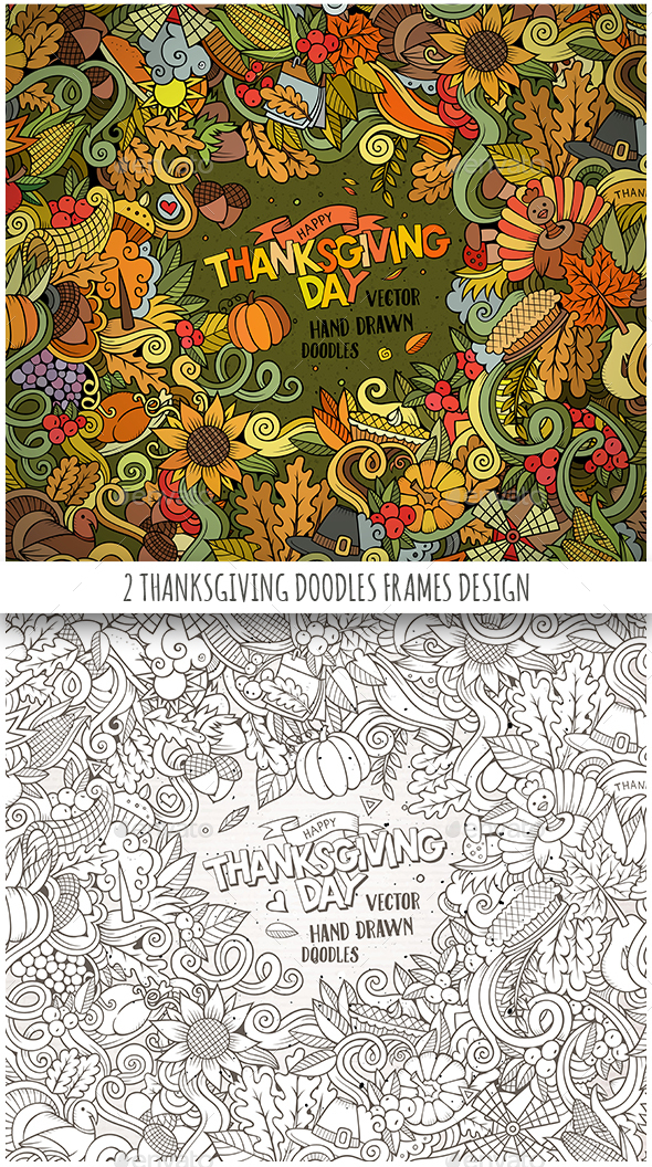 2 Happy Thanksgiving Doodles Frames - Seasons/Holidays Conceptual