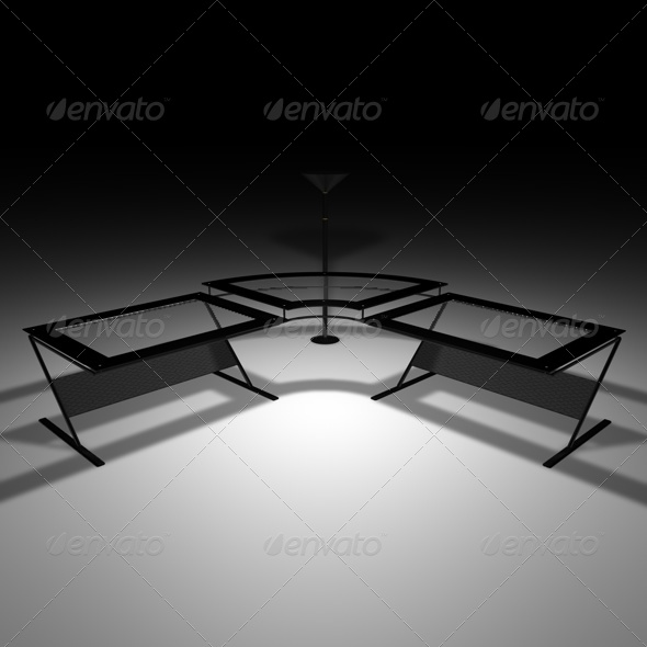 Black glass desk - 3DOcean Item for Sale