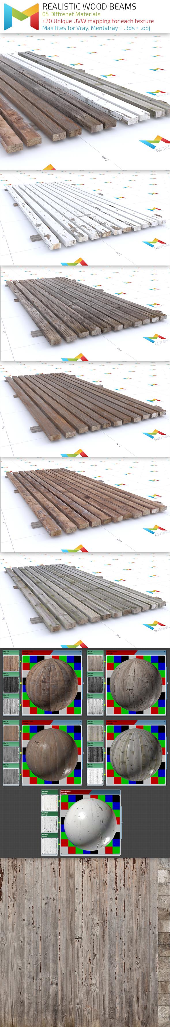 Realistic Wood Beams - 3DOcean Item for Sale