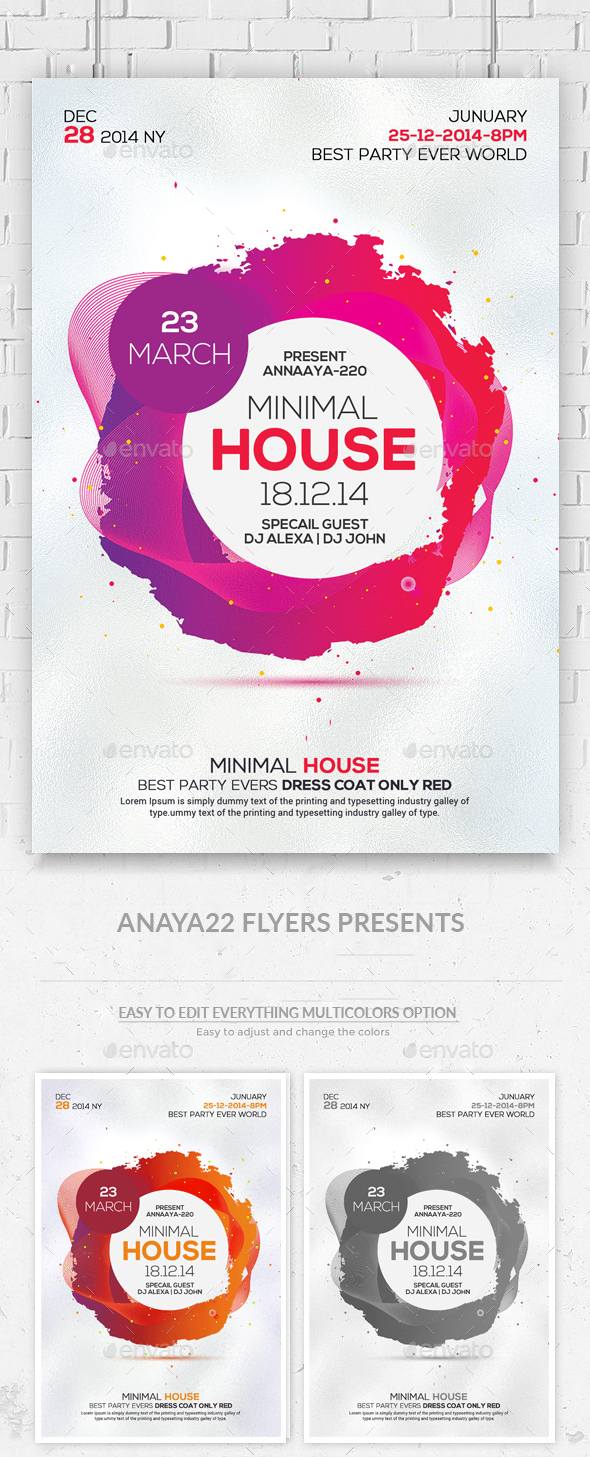 Minimal Colors Flyers - Clubs & Parties Events