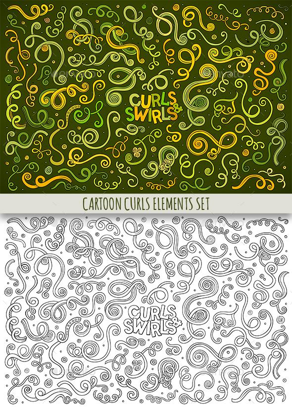 Curls & Swirls Doodles Elements Set - Decorative Symbols Decorative