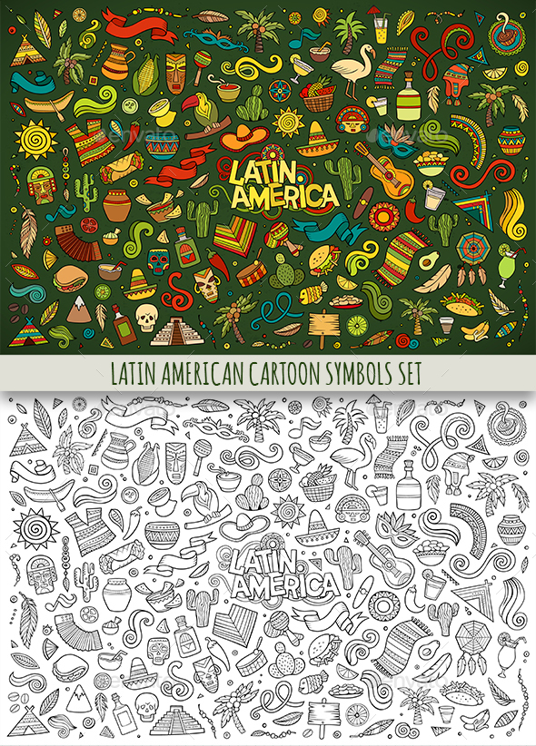 Latin American Doodles Symbols Objects By Balabolka Graphicriver