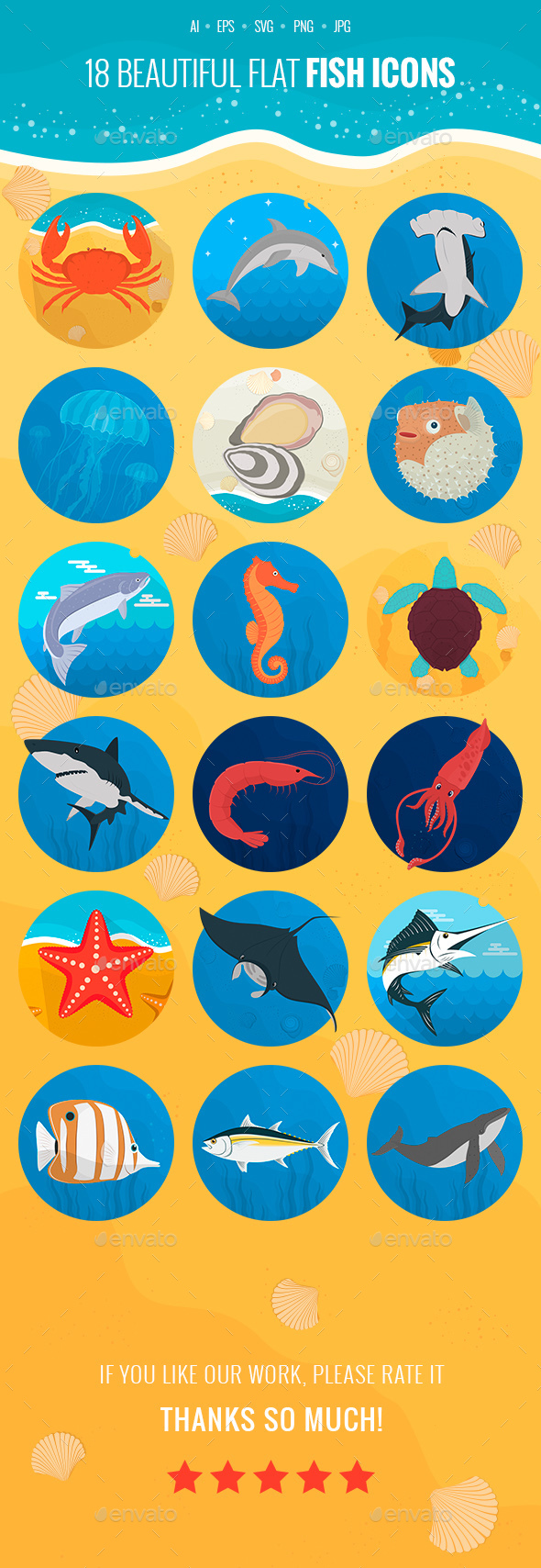 Fish Flat Icons - Animals Characters