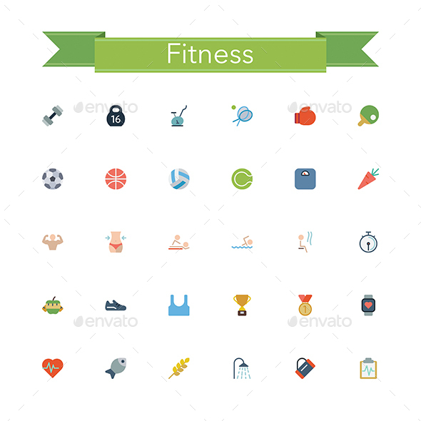 Fitness Flat Icons - Objects Icons