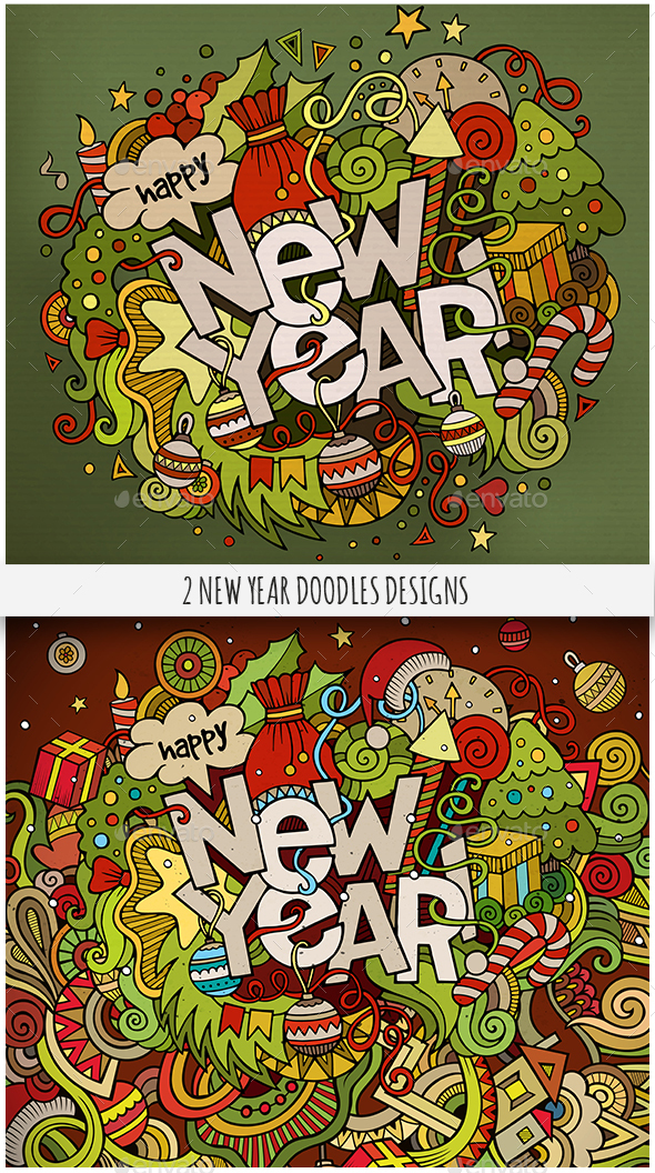 2 New Year Doodles Designs - New Year Seasons/Holidays