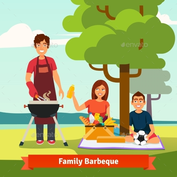 Family On Vacation Having Outdoor Bbq - People Characters