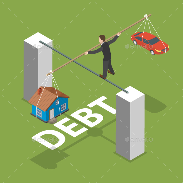 Debt Isometric Flat Vector Concept.  - Concepts Business