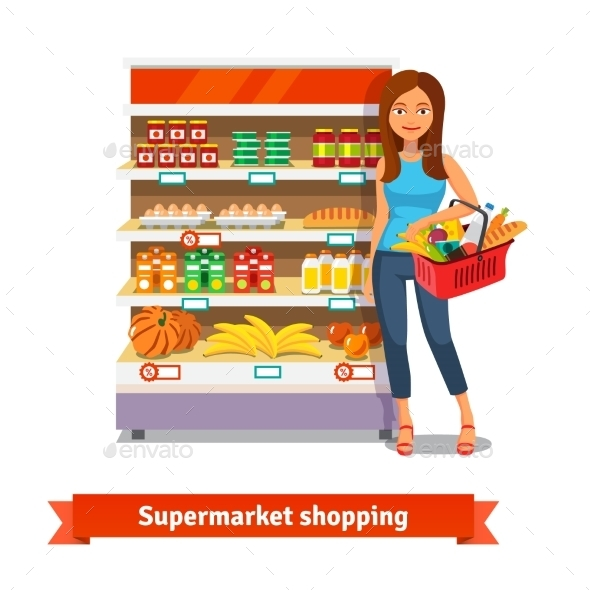 Young Woman Standing Near Supermarket Shelves - Commercial / Shopping Conceptual