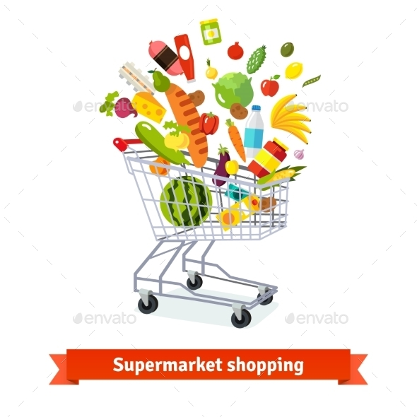 Full Shopping Grocery Cart Exploding With Goods - Commercial / Shopping Conceptual