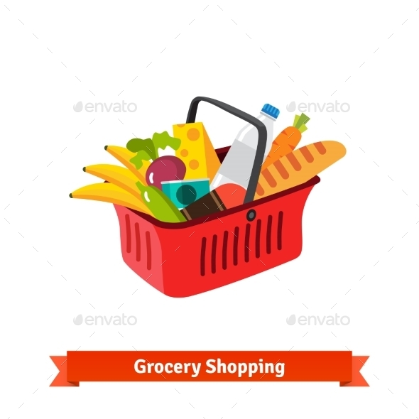 Red Plastic Shopping Basket Full Of Groceries - Retail Commercial / Shopping