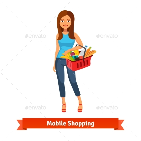 Young Woman Standing With Plastic Shopping Basket - Commercial / Shopping Conceptual