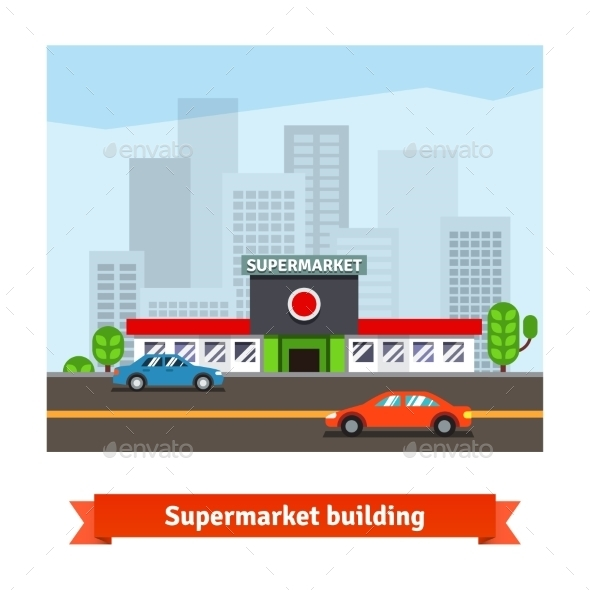 Roadside Supermarket And Cityscape Background - Services Commercial / Shopping