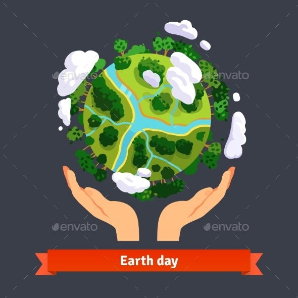 Earth Day Concept. Human Hands Holding Globe - Nature Conceptual