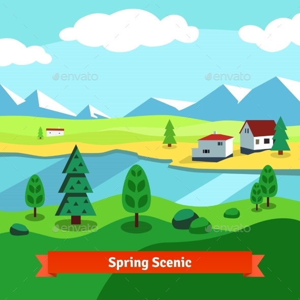 Spring Rural Farm Riverside Scenic With Mountains - Seasons Nature