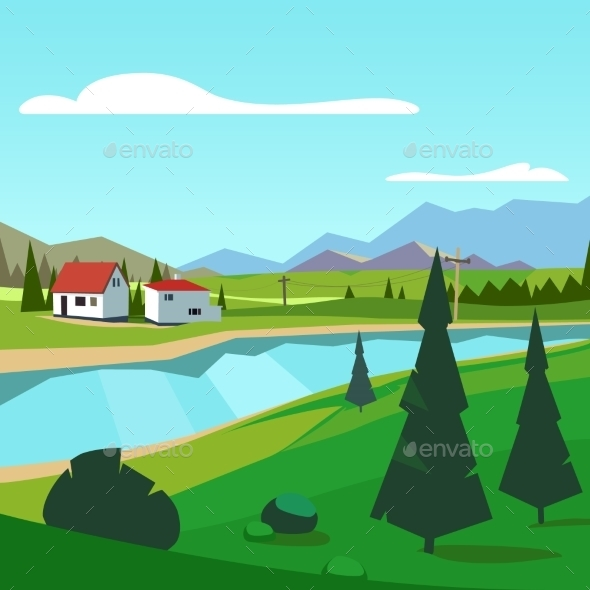 Spring Rural Farm Riverside Scenic With Mountains - Landscapes Nature