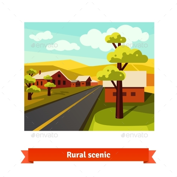 Rural Road Crossing The Village Countryside - Landscapes Nature