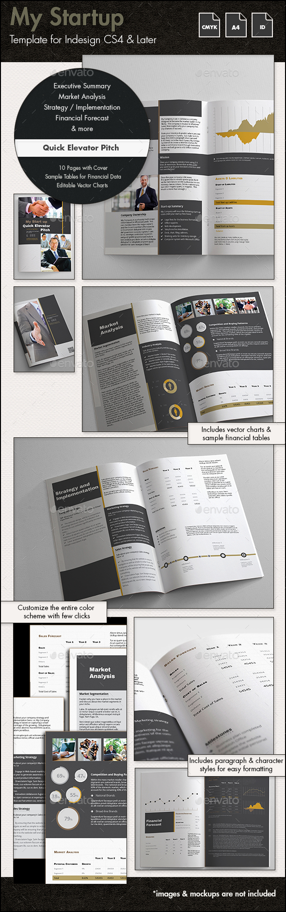 My Startup - Quick Elevator Pitch Template - A4 - Proposals & Invoices Stationery