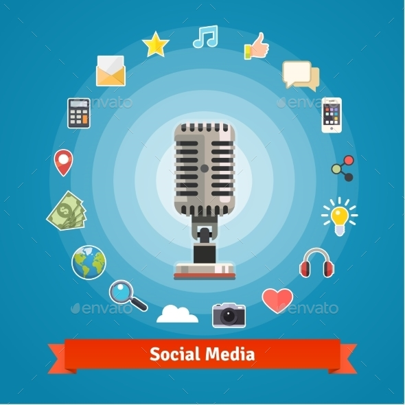 Social Media Marketing, Podcasts Recording Studio - Conceptual Vectors