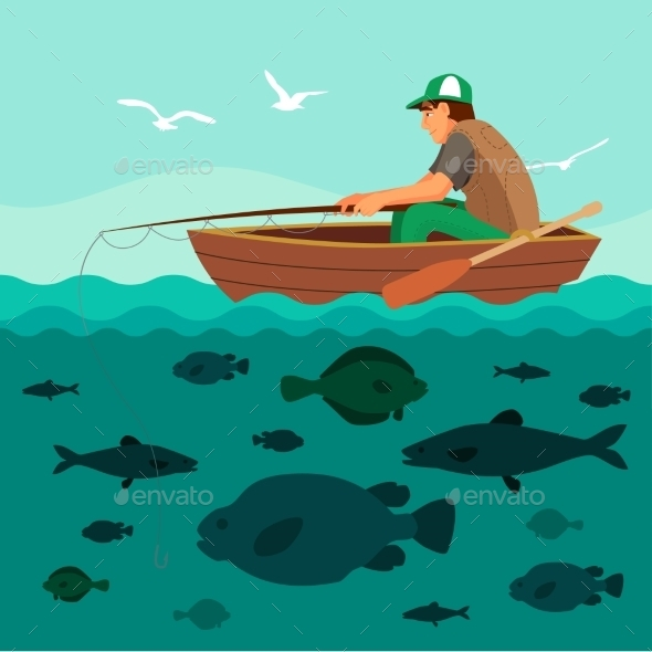 Man Fishing On The Boat. Lots Of Fish - Sports/Activity Conceptual