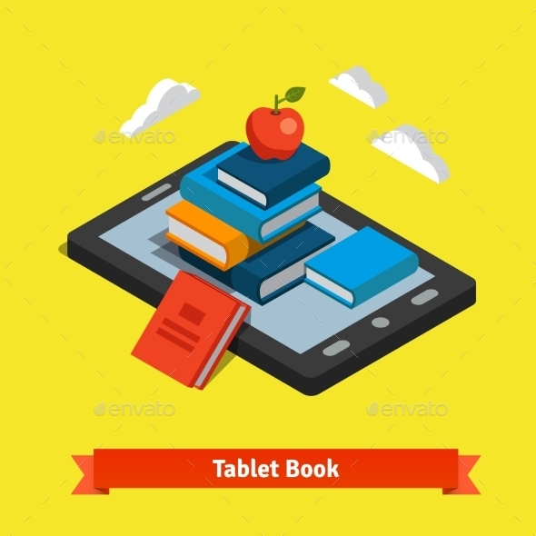 Tablet E-reader Book Reading And Modern Technology - Technology Conceptual